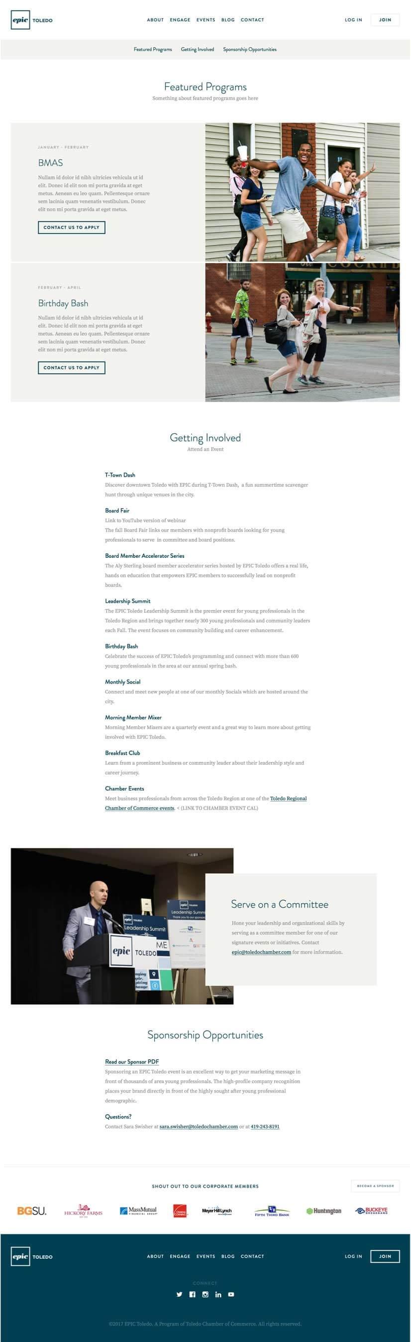 Epic Toledo Engage Page Design Mock-Up