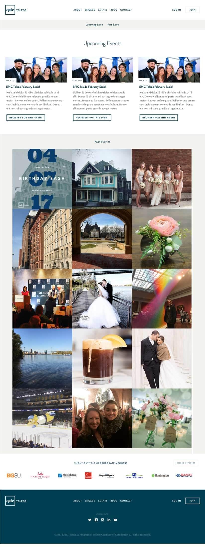 Epic Toledo Events Page Design Mock-Up