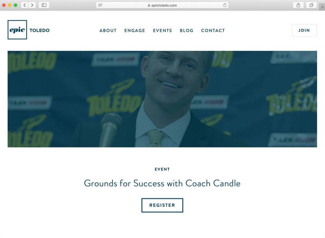 Desktop screenshot of the Epic Toledo website after Whitelabel redesigned it