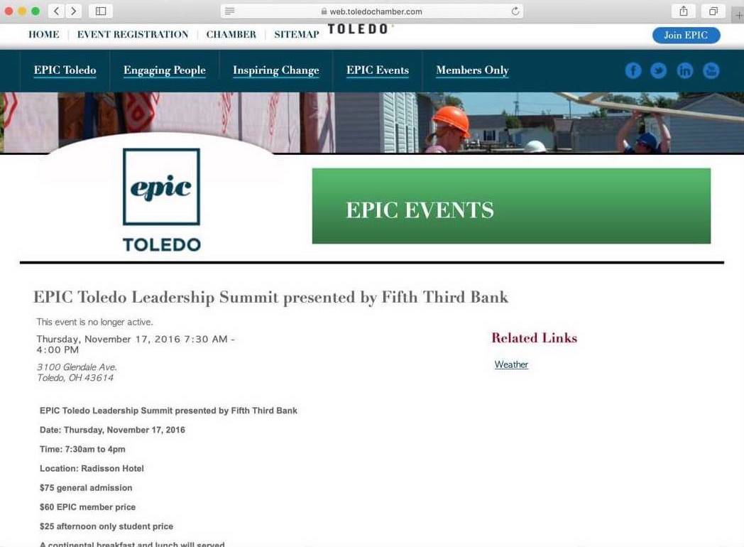 Desktop screenshot of the Epic Toledo website before Whitelabel redesigned it